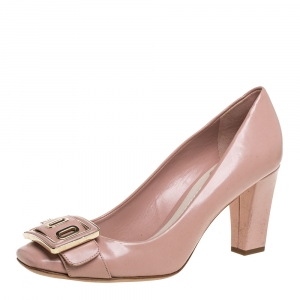 Dior Pale Pink Leather Buckle Detail Pumps Size 38