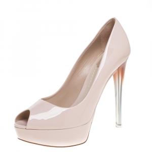 Dior Pink Patent Miss Dior Peep Toe Platform Pump Size 40
