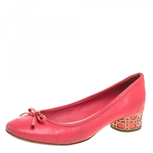Dior Pink Leather Bow Round Toe Ballet Pumps Size 39
