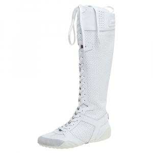 Dior White Perforated Leather D-Fence Knee-High Lace-up Sneaker Size 36.5