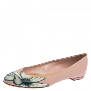 Dior Pink Floral Print Leather Ballet Flats Size 39.5
