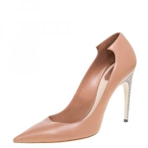Dior Nude Beige Leather Crystal Embellished Flash Pointed Toe Pumps Size 41
