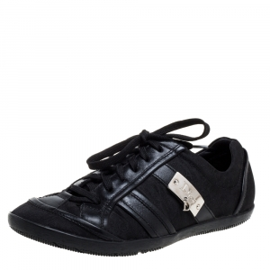 Dior Black Canvas And Leather Trim Low Top Sneakers Size 37