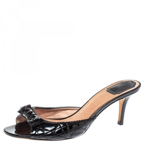Dior Black Cannage Patent Leather Bow Slide Sandals Size 41