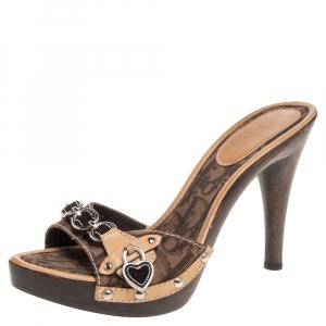 Dior Brown Monogram Canvas And Leather Heart Locket Embellished Slide Sandals Size 37.5