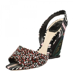 Dior Multicolor Sequins and Fabric Open Toe Wedge Slingback Sandals 38.5