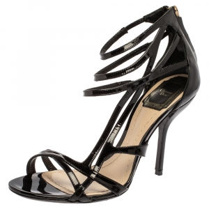 Dior Black Patent Leather Caged Open Toe Sandals Size 37.5