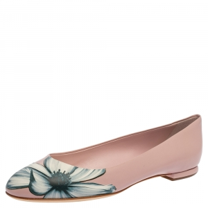 Dior Pink Floral Print Leather Ballet Flats Size 38.5