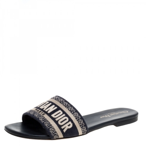 Christian Dior Blue/White Cotton Fabric Embroidered Dway Logo Slide Flats Size 38