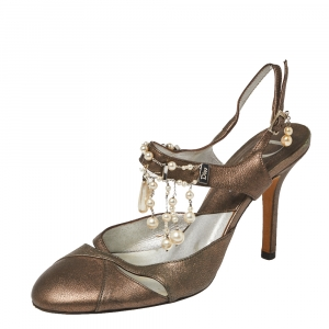 Dior Metallic Olive Leather Pearl Embellished Ankle Strap Slingback Sandals Size 37