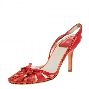 Dior Two Tone Red Leather Braid Bow Slingback Sandals Size 37 - used