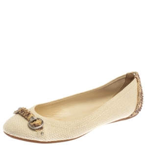 Dior Beige Raffia And Python Trim Horsebit Ballet Flats Size 37 - used