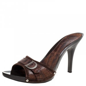 Dior Brown Croc Embossed And Suede Slide Sandals Size 40