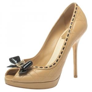 Dior Beige Cannage Leather Bow Peep Toe Platform Pumps Size 37