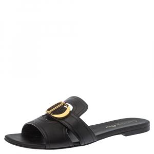 Dior Black Leather 30 Montaigne Slide Flats Size 37.5
