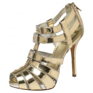 Dior Metallic Gold Leather Strappy Buckle Caged Sandals Size 37.5 - used