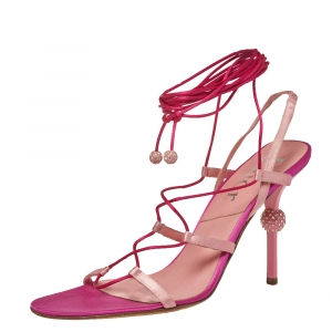 Dior Pink/Red Satin Ankle Wrap Sandals Size 40.5