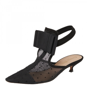 Dior Black Mesh, Suede, Elastic And Canvas Slingback Sandals Size 37 - used