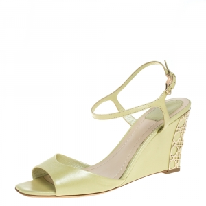 Dior Green Leather Wedge Ankle Strap Sandals Size 38 - used