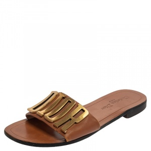 Dior Brown Leather Logo Flat Sandals Size 39 - used
