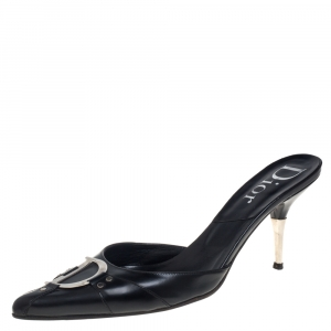 Dior Black Leather Logo Mule Sandals Size 41 - used
