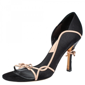 Dior Black Satin And Leather Open Toe Bow Sandals Size 39 - used