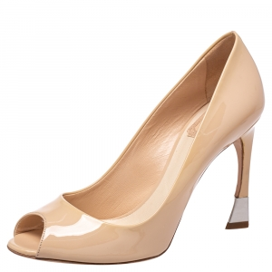 Dior Beige Patent Leather Miss Dior Peep Toe Pumps Size 38