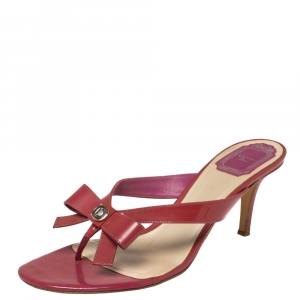 Dior Red Patent Leather Bow Sandals Size 38.5 - used