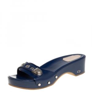 Dior Blue Leather Buckle Detail Platform Slide Sandals Size 37.5 - used
