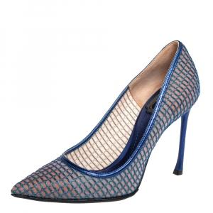 حذاء كعب عالي ديور شبكة وجلد أزرق مقدمة مدببة مقاس 36