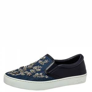 Dior Blue Denim and Leather Happy Crystal Embellished Slip On Sneakers Size 40.5
