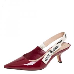 Dior Burgundy Patent Leather J'Adior Slingback Pumps Size 37.5