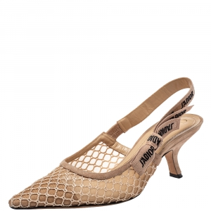 Dior Beige Mesh And Suede J'Adior Slingback Sandals Size 40