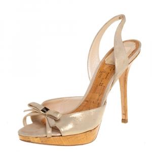 Dior Shimmery Leather Bow Detail Platform Sandals Size 38.5