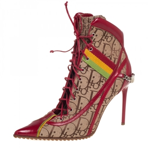 Dior Beige/Red Leather And Canvas Monogram Rasta Ankle Boots Size 36.5