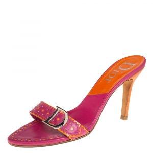 Dior Pink/Orange Leather Studded Logo Detail Slide Sandals Size 39