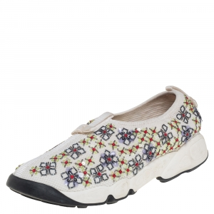 Dior White Mesh Embellished Fusion Slip On Sneakers Size 37