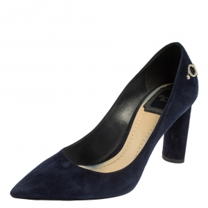 Christian Dior Navy Blue Suede CD Logo Chain Embellished Pointed Toe Pumps Size 37