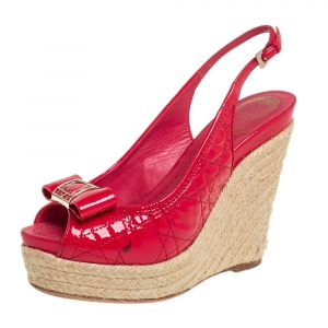 Dior Red Patent Cannage Leather Espadrille Wedge Peep Toe Slingback Sandals Size 37.5 - used