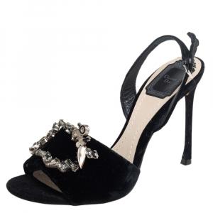 Dior Black Velvet Tresor Crystal Embellished Open Toe Slingback Sandals Size 37.5 - used