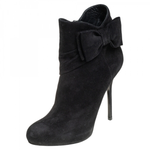 Dior Black Suede Bow Detail Platform Ankle Boots Size 37 - used