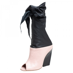 Dior Pink/Black Leather Wrap Around Booties Size 37 - used