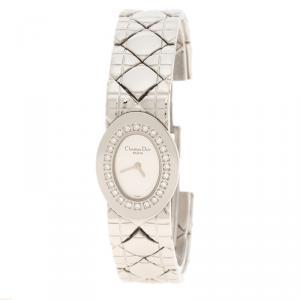 Dior Silver Stainless Steel Diamond Studded Lady Dior Women's Wristwatch 21 mm