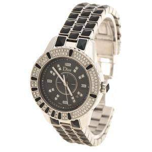 Dior Black Stainless Steel Diamond Christal Women's Wristwatch 33 mm