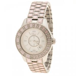 Dior Pink Mother of Pearl Diamond Studded Stainless Steel Christal Women's Wristwatch 33 mm