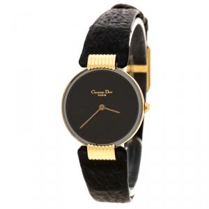 Christian Dior Black Gold Plated Bagira Black Moon 46 153-4 Women's Wristwatch 26 mm
