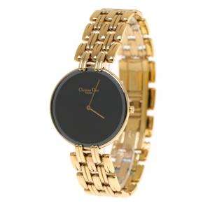 Christian Dior Black Gold Plated Bagheera Black Moon D47-154-4 Women's Wristwatch 32 mm