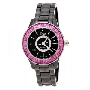 Dior Black 18K White Gold Ceramic VIII Vendome CD1235F2C001 Women's Wristwatch 33 mm