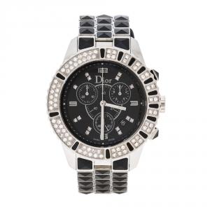 ساعة يد نسائية ديور شريستال CD11431E ألماسات ستانلس ستيل سوداء 38 مم