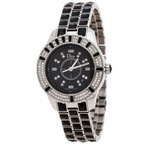 ساعة يد نسائية ديور Christal CD11311B ألماسات ستانلس ستيل سيراميك سوداء 33 مم
